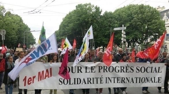 جانب من مظاهرات عيد العمال في فرنسا (تويتر)