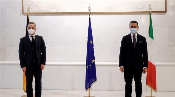 وزيرا الخارجية الإيطالي لويجي دي مايو والألماني هايكو ماس اليوم في روما (آكي)