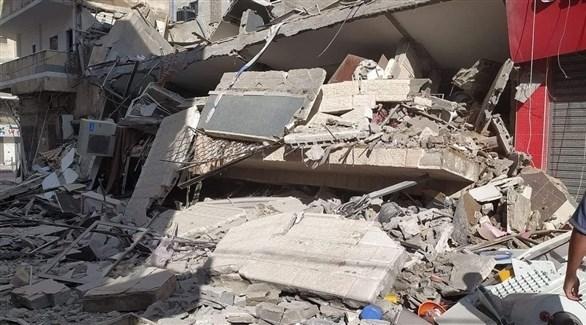 ركام منزل تدمر خلال قصف على غزة (تويتر)