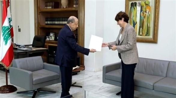 الرئيس اللبناني يسلم السفيرة الفرنسية رسالة لماكرون (النهار)