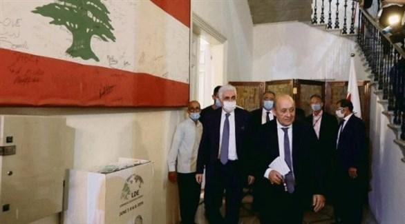 وزير الخارجية الفرنسي جان إيف لودريان خلال زيارته لبنان (أرشيف)