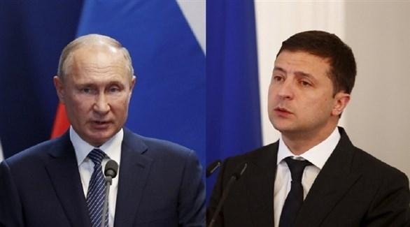 الرئيس الأوكراني زيلينسكي ونظيره الروسي بوتين (أرشيف)
