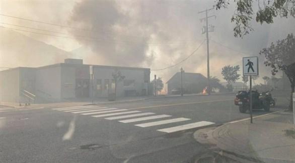 الحريق في بلدة ليتون (تويتر)