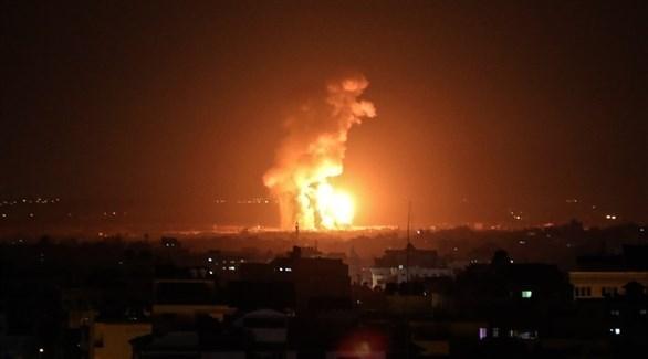 قصف إسرائيلي على موقع عسكري في قطاع غزة (أرشيف)