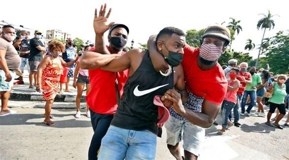 جانب من التظاهرات في كوبا (اي بي ايه)