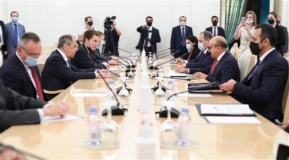 جانب من اللقاء بين وزير خارجية البحرين ونظيره الروسي (الخارجية الروسية )