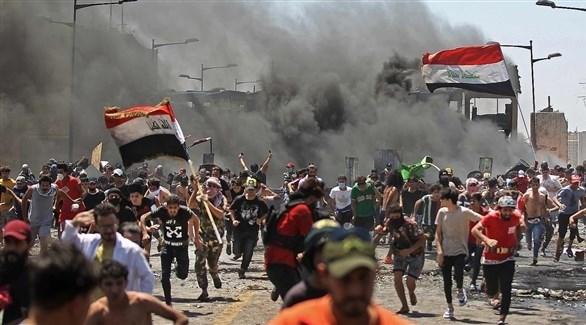 تظاهرات حاشدة في الناصرية احتجاجاً على انقطارع الكهرباء (تويتر)