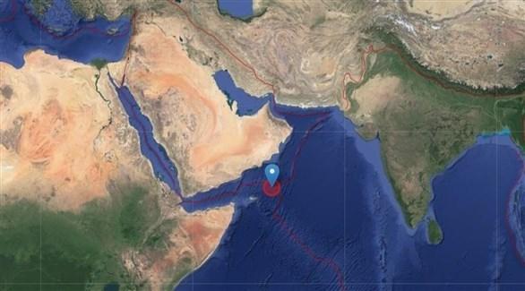 مركز وقوع الزلزال قبالة سواحل سلطنة عمان (المعهد الألماني للرصد)