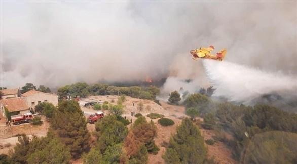 طائرة فرنسية تعمل على إخماد الحريق (تويتر)