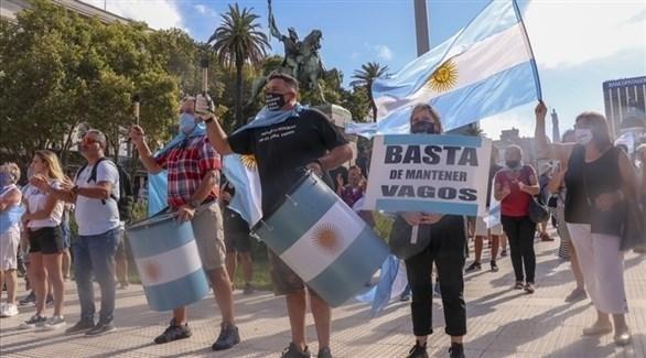 متظاهرون في الأرجنتين بعد فضيحة أولية التطعيم ضد كورونا (أرشيف)