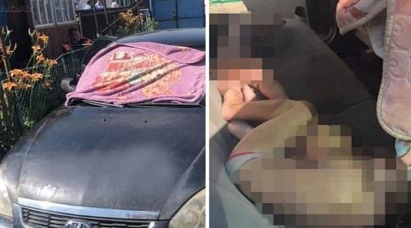 السيارة التي عثر فيها على الطفلتين (مواقع روسية)
