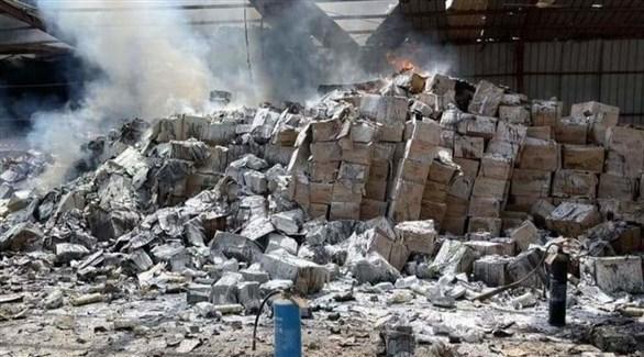 من آثار القصف على ميناء المخا (العربية)