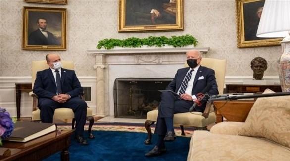 الرئيس الأمريكي جو بايدن ورئيس الوزراء الإسرائيلي نفتالي بينيت.(أف ب)